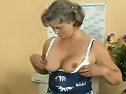 Granny boss makes her emplyee lick pussy