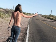 Topless hitchhiker