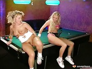 Lesbo teens on the pool table