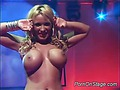 Public strip show of busty blonde