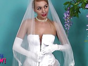 Playful bride Hayley-Marie  flashing