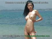 Naked asian teen beauty Miko by the sea