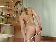 Young Tracy Delicious takes purple dildo