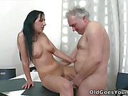 Cute brunette Ami gets fucked by aged man