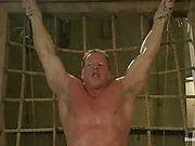 Tied up muscular gay slave Derek Pain