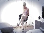 Pretty blonde in white stockings