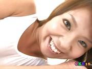 Oriental girl Rimi in tempting white teddy