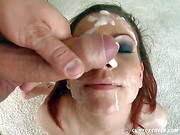 Lia gets throat fucked by all the guys before facials