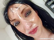 Nasty Wendy get her face cum splattered