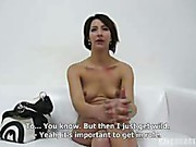 Casting girl Romana with pierced clit