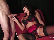 Mistress Carly makes man fuck her shaved snatch