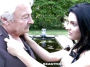 Aged man gets seduced by beautiful teen brunette