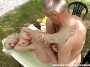 Old and young sex in the garden
