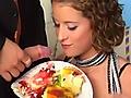 Birthday-bash-turned wacky orgy with cake