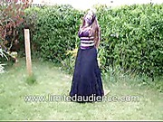Lady in long black skirt